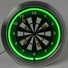 ダーツ ネオンクロック レトロ 壁掛時計