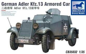 1/35 独アドラーKfz.13軽4輪装甲自動車MG機銃搭載型 プラモデル(1/35 German Adler Kfz.13 Armored Car Plastic Model(Back-order))