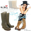 Beauty legs ウェッジソールレイン boots dots, polka dot ☆ / Middle boots /