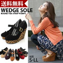 Ankle strap wedge sole pumps black / strap / red / pumps / wedge sole / Leopard / Leopard