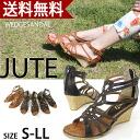 ジュートウエッジソールグラディエーター Sandals antiqued studs and cross strap ☆ /