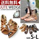 エスニックグラディエーター sandals with bijoux /4.0cm ジュートウエッジソール Womens / Sandals / strap / Bijou / wedge / jute