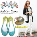 Simple & gradient mesh rubber flat shoes women's / Laver pumps / pumps / hurt / light weight resort and beach Sandals rain shoes and