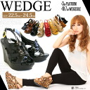 11 color ☆ beauty leg cut designs available! Backstrap wedge sole sandals / suede / python / mousse / panther / enamel