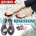 Rhinestone クリアビーチ Sandals lame / clear / ビーチサンダル / Sandals / strap / tongs / rhinestone / flat sole / pettanko pettanko rubber sandal