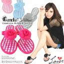 フラワーコサージュ × ギンガムチェックカメリアトングビーチ Sandals very popular / Sandals Resorts