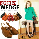 Before thick wedge sole sandal back strap with beauty legs ☆ /