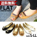 With gold plate! Peep toe flat pumps spring and flat sole / pumps / black peep toe and low heel women / pettanko pettanko / hurt /