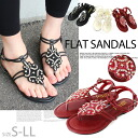 ! Rhinestone and beaded エスニックウエッジソールトング Sandals foam with Orthotics, pettanko / low heels