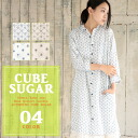 7 / 1 upCUBE SUGAR cotton linen floral プリントシャツワン piece (4-color