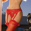 Black / red / race garter belt (garter belt of big size)