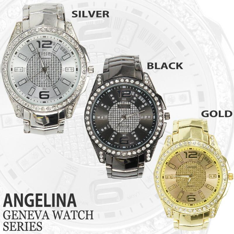 Angelina1 rakuten global market mens watch geneva rhodes luxury raintrmbrmblynwatch for Celebrity quartz watch