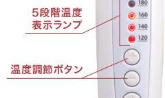5段階温度表示ランプ 温度調節ボタン