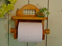 Wooden toilet paper holder ◇ shelf of the checker glass made in natural ◇ France is with it