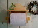 Natural oak-white cedar wood toilet paper holder with shelf-