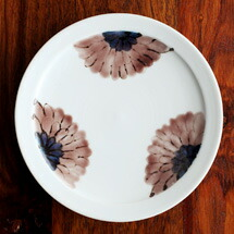 九谷青窯 高原真由美 色絵ガーベラ 紫 5.5寸皿