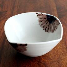九谷青窯 高原真由美 色絵ガーベラ 紫 四方小鉢