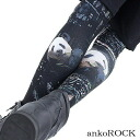 ankoROCK London panda leggings / men panda pattern leggings Lady's pattern leggings showy spats pattern leggings individual leggings ten minutes length whole pattern leggings London pattern city pattern lock fashion bean jam lock Harajuku system fashion