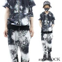 ankoROCK black gum galaxy setup - tight & sloppy -/ men space pattern setup Lady's Cosmo pattern top and bottom set showy setup individual short-sleeved parka Milky Way handle of space handle of sarouel pants whole pattern jersey top and bottom Kurobaru hotel system fashion space handle of brand clothes