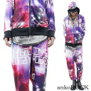 ankoROCK universe Anco rock set up - tight and loose - / men's space pattern Setup women's Cosmo pattern Parker Galaxy pattern Setup flashy down set distinctive women's harem pants General Galaxy pattern space pattern Jersey down Anco rock Hara-Juku series fashion space pattern clothes