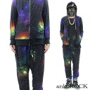 ankoROCK rainbow monospace setup - tight & sloppy - / men space pattern setup Lady's Cosmo pattern Milky Way pattern top and bottom set flamboyance sarouel pants individual setup parka galaxy handle of space handle of colorful black black bean jam lock space handle of clothes