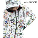 ankoROCK child graph parka - tight - / men graffiti bottle tit sleeve parka Lady's long sleeves parka showy Parker individual long sleeves parka art printed pattern lock fashion bean jam lock Harajuku system fashion individual clothes brand personality group