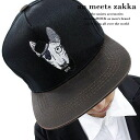 an meets zakka burteliasnapbuckcap / men's dog handle snap back Cap ladies Cap flashy baseball cap distinctive Cap embroidery animal pattern CAP Hat dog pattern two-tone rock fashion Anco rock Harajuku of fashion clothing brand