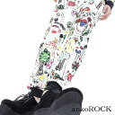 ankoROCK white child graph Skinner - live slim - and men's children's graffiti pattern live pants ladies scribble pattern Jogger pants bling skinny pants distinctive Slim pants pattern colorful graffiti pattern white white Hara-Juku series fashion Anco r