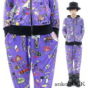 ankoROCK purple child chart set up - tight and loose - / mens kid's graffiti pattern Setup women's scribble pattern up and down set flashy Jersey distinctive casual Setup sarrouel pants Parker General colorful graffiti pattern Purple Purple Anco rock