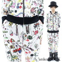 ankoROCK white child chart set up - tight and loose - / mens kid's graffiti pattern Setup women's scribble pattern up and down set flashy Jersey distinctive casual Setup sarrouel pants Hoodie pattern colorful graffiti pattern white white angkorock