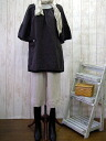 Book sale 10 days delivery W gauze ベルスリ-ブスモックチュニック / chocolate brown