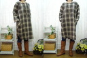 New work! Suddenly sale ♪ book sales!, linen check round one piece /BW / Brown check M ~ 6 L