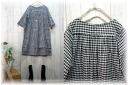 Book sale ♪ cotton black white gingham and staggered around the OK タックワンピ M ~ 5 L