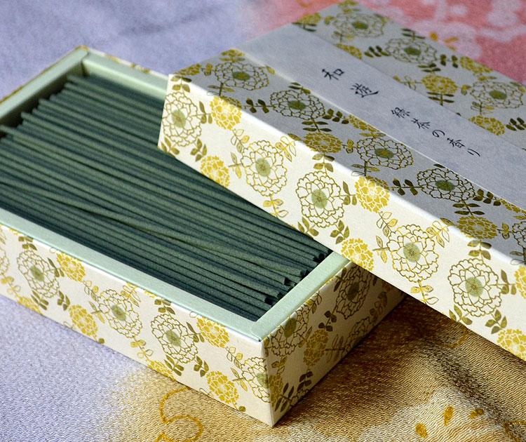 「和遊」平箱 お線香バラ詰 緑茶の香り