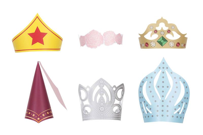 パーティーハット 6種類セット バースデーハット とんがり帽 誕生日帽 パーティー 冠 クラウン 6個セット お誕生日 お姫様 プリンセス かわいい クイーン 誕生日会 姫 被り物 かぶり物 コスチューム