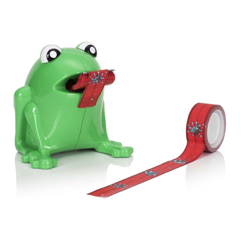 フロッグ テープディスペンサー ハエテープ2本付 カエル セロテープ セロテープ台 おもしろ雑貨 事務用品 オフィス テープスタンド 蛙 かえる 蝿 はえ
