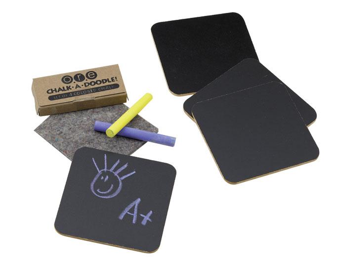 黒板コースター 4個セット チョーク付 黒板 コースター チョーク 学校 パーティー DIY キッチン雑貨 テーブルアクセサリー ユニーク ホームパーティー グッズ 小物 ハート スクエア