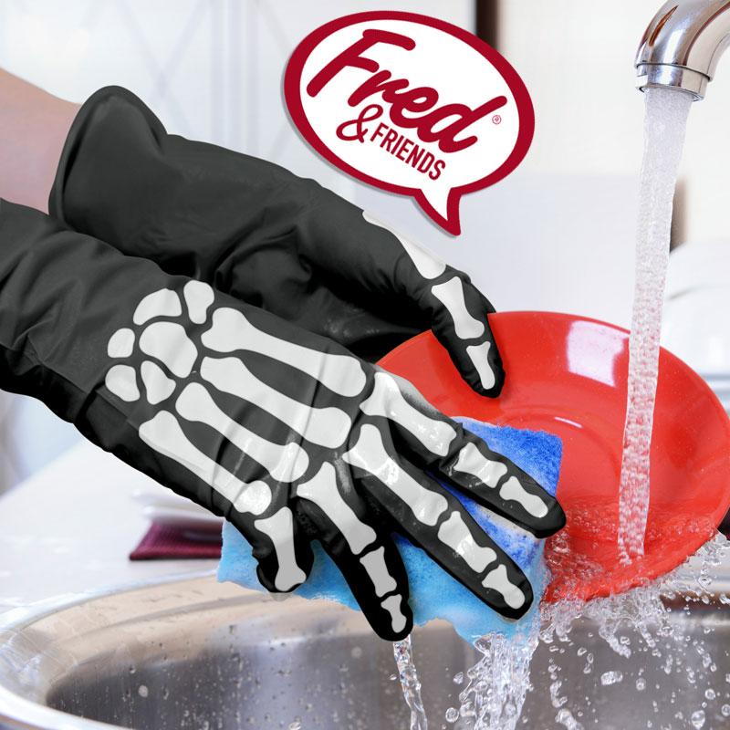 フレッド ボーンドライ キッチングローブ ゴム 手袋 かわいい おしゃれ キッチン 骨 手袋 ラテックス手袋 ラテックスグローブ 掃除 手袋 防水 FRED スケルトン 骸骨