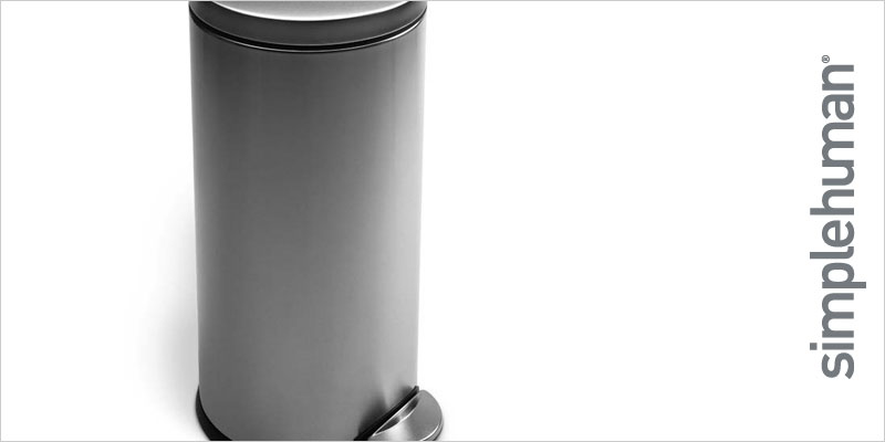 シンプルヒューマン  ラウンドステップカン 30L ステンレス【Simplehuman FFP キッチン ごみ箱 ゴミ箱 レトロ モダン シンプル シルバー インテリア 雑貨 輸入 海外】