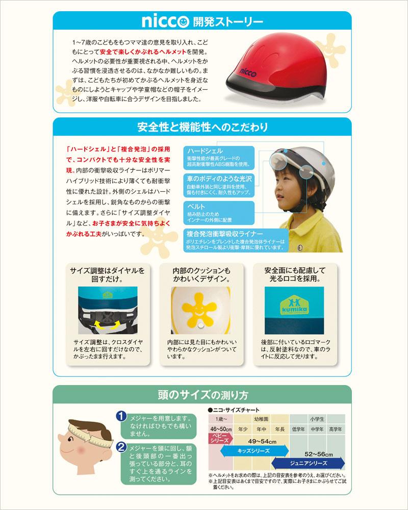 nicco キッズヘルメット ヘルメット ニコ 子供 幼児 園児 キッズ 自転車 三輪車 クミカ工業 サイクルヘルメット デザイナーズ メット ニッコ 通園用 ベビー用品 安全帽子