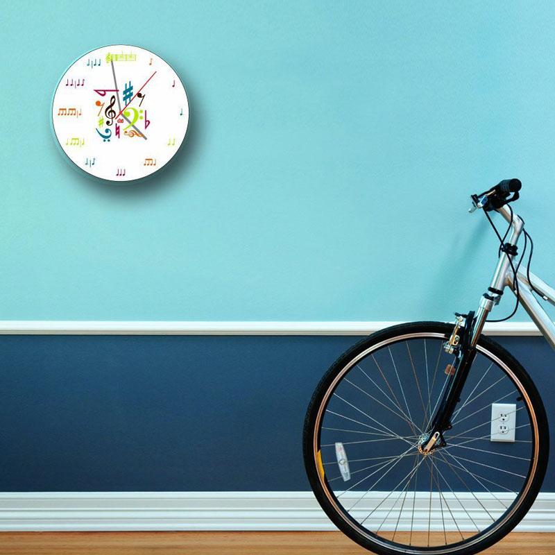 ミュージックノートクロック 掛け時計 時計 音符 音譜 楽譜 音楽 掛け時計 壁掛時計 音符時計 ミュージック ウォールクロック 音楽教室 クラシック時計