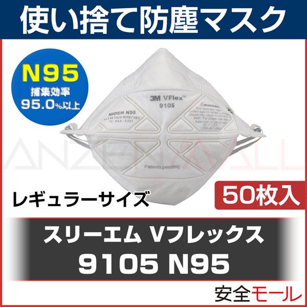商品アイコン使い捨て式 防塵マスクVFlex 9105S N95(50枚入)(レギュラーサイズ)スリーエム社製。