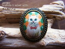 Amount of cat ring white cat X Ichimatsu doll check / picture-like free ring (M) frame Kaneko beauty color 4502P13Dec13_m