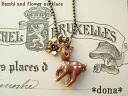 《 delivery possible 》 Petit necklace 51 of Bambi giving a shake at the solid motif ♪ flower which a back figure has a cute