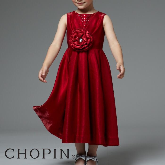 CHOPINショパン女の子深く艶やかな赤、青のきれいなワンピースドレス
