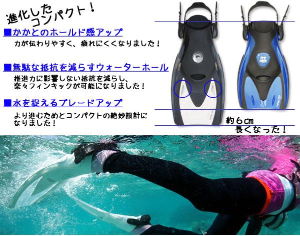 シュノーケリング・スキンダイビング用コンパクトフィン(足ひれ) HUF21の進化