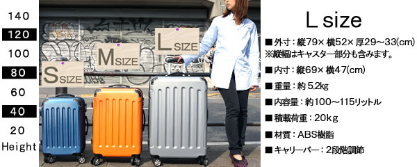 【キャリーケース・スーツケース】キャリーケースのスペック