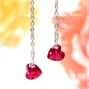 And a drop of Red hearts lovely sparkling,-! シンセティックレッド Ruby ヌーディーセッティングハート American earrings ToSfs3gm