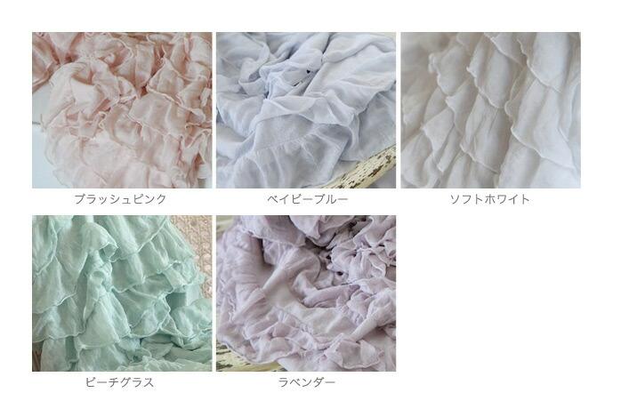カラー:ブラッシュピンク、ベイビーブルー、ソフトホワイト、ビーチグラス、ラベンダー/Shabby Style シャビースタイル シフォンレイヤードスロー