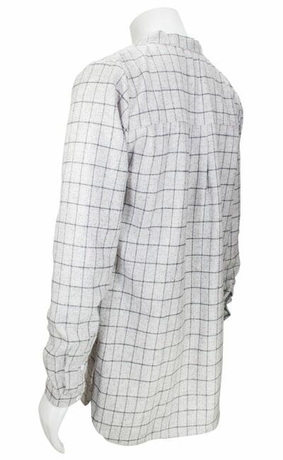 L/Sバンドカラーウインドウペーンロングシャツ